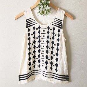 Madewell Cascade Geometric Embroidered Tank Top S